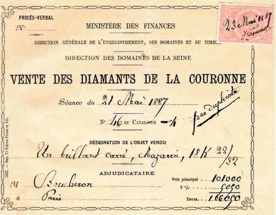 Invoice in the name of Boucheron for the Grand Mazarin diamond, lot 46 of the 1887 auction of the French crown jewels © Boucheron archives