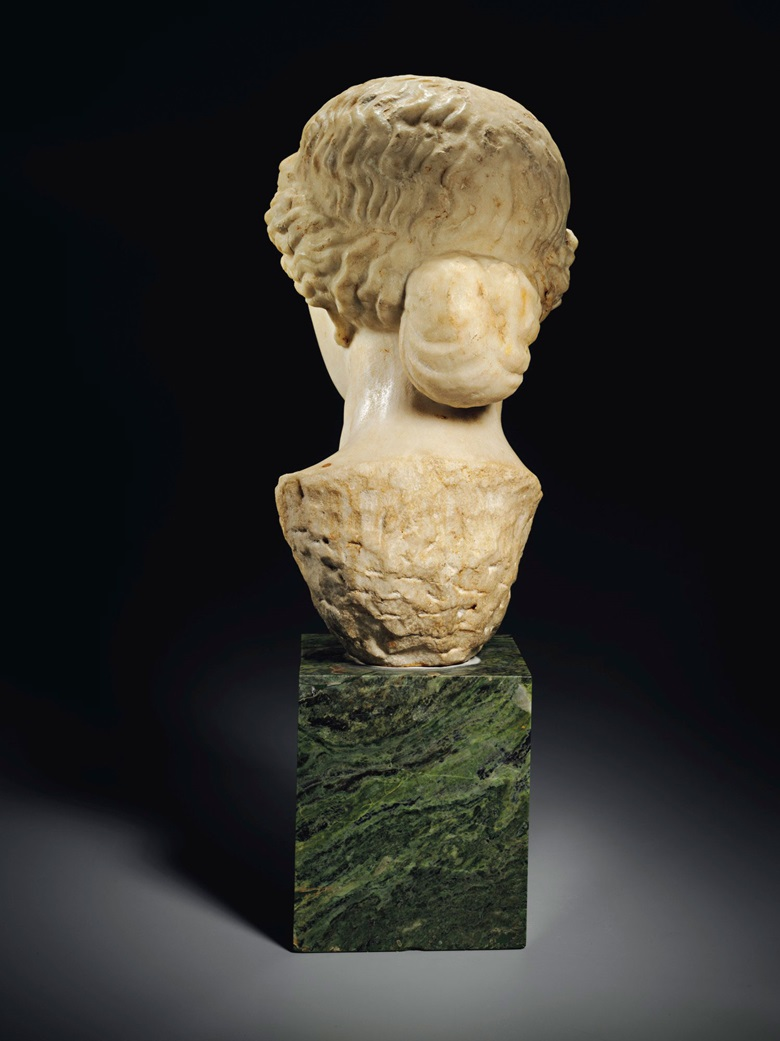 In this posthumous representation, Livia's hair is a luscious, wavy mass that recalls the depiction of Olympian goddesses in the 5th century BC