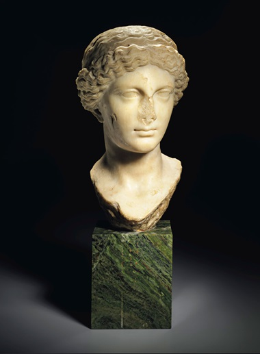 A Roman marble portrait head of the Empress Livia, Julio-Claudian, circa 1st century AD. 13⅜  in (34  cm) high. Estimate $200,000-300,000. This lot is offered in Antiquities on 25 October at Christie's in New York