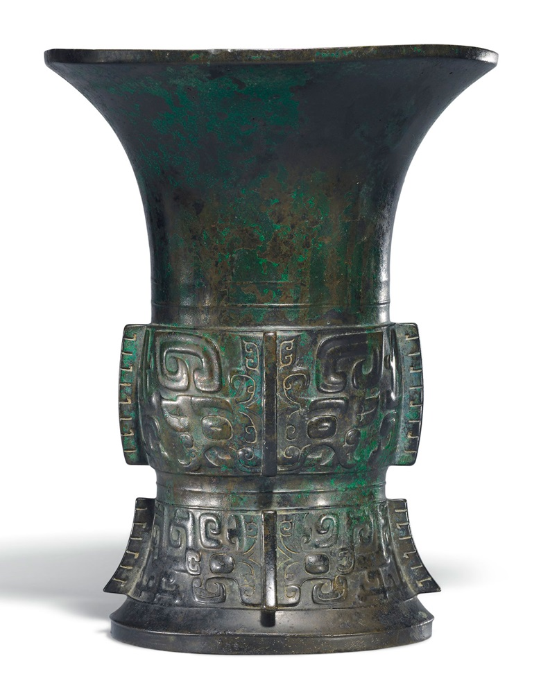 A bronze ritual wine vessel, zun, Early Western Zhou dynasty (12th century BC). 10¾ in (27.4 cm) high. Estimate £30,000-50,000. This lot is offered in Fine Chinese Ceramics & Works of Art on 7 November 2017  at Christie's in London