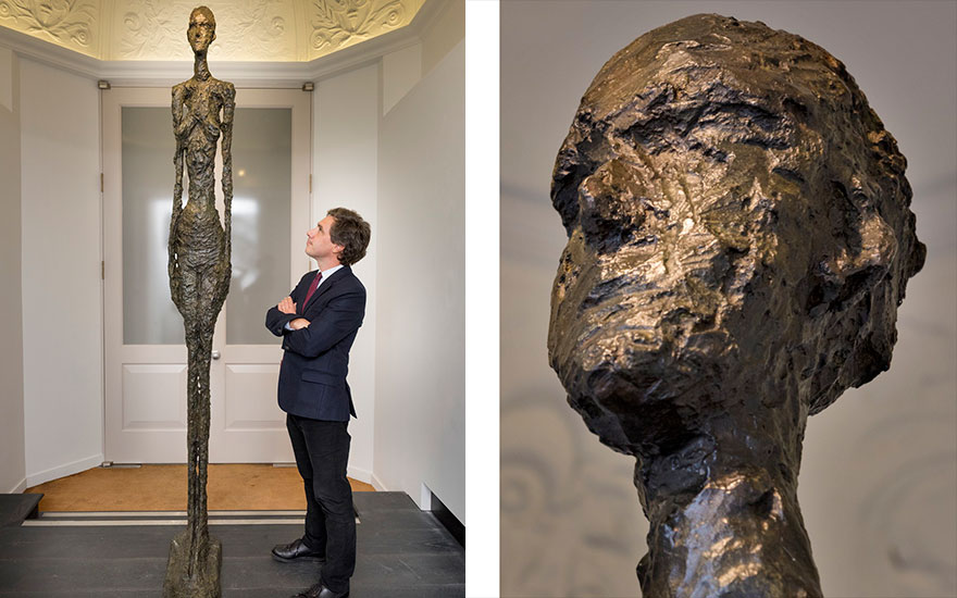 Pierre Martin-Vivier with Alberto Giacometti, Grand Femme II (and detail). Bronze with dark brown patina. Height 108⅞ in (276.5 cm). Conceived in 1960; this bronze cast in 1980-81. Sold for