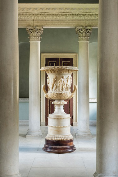 A large Italian alabaster 'Medici vase', on pedestal, Late 19th century. 40  in (101.5  cm) high, the vase; 68½ in (174  cm) high overall; 33 in (84  cm) diameter. Estimate £25,000-35,000. This lot is offered in The Collector Silver, 19th Century Furniture, Sculpture & Works of Art on 16 November 2017  at Christie's in London