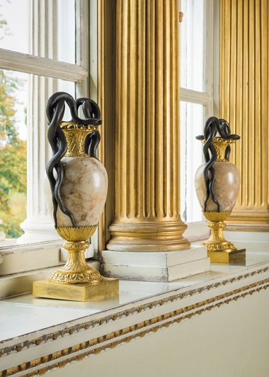 A pair of late Louis XVI patinated-bronze and ormolu-mounted alabaster vases, circa 1790-1800. 19¾  in (50  cm) high. Estimate £30,000-50,000. This lot is offered in The Collector European Furniture, Works of Art & Ceramics on 15 November 2017  at Christie's in London