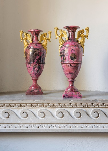 A pair of Russian ormolu-mounted rhodonite vases, attributed to the Ekaterinburg or Peterhof stone-cutting workshops, circa 1830-1850. 12  in (30.5  cm) high. Estimate £20,000-30,000. This lot is offered in The Collector Silver, 19th Century Furniture, Sculpture & Works of Art on 16 November 2017  at Christie's in London