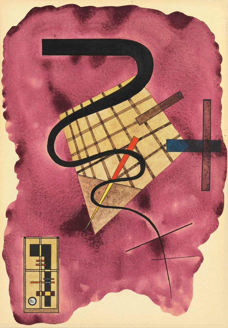 Wassily Kandinsky (1866-1944), Schwebende Linie, 1924. Gouache, watercolour and brush and pen and India ink on paper laid down by the artist on board. 19⅛ x 13¼ in (49 x 33.9 cm). Estimate $500,000-800,000. This work is offered in Impressionist and Modern Art Works on Paper on 14 November at Christie's in New York