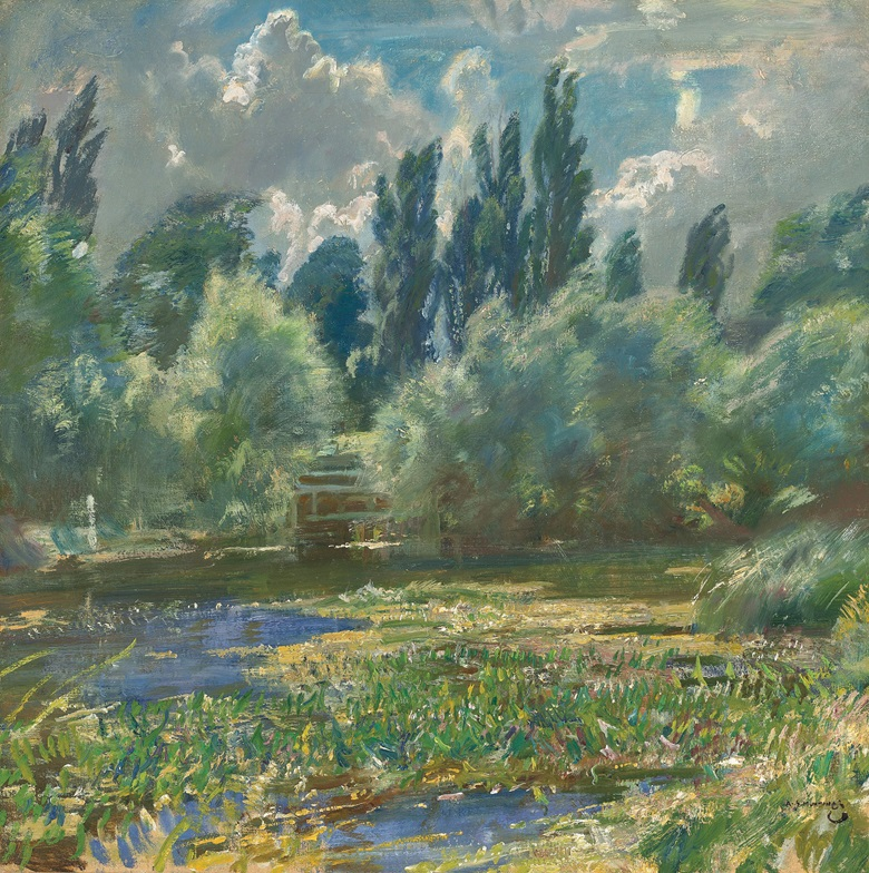 Sir Alfred James Munnings, P.R.A., R.W.S. (1878-1959), Langham Mill Pool. 24 x 24  in (61 x 61  cm). Estimate £250,000-500,000. This lot is offered in the British Impressionism Evening Sale on 22 November at Christie's in London
