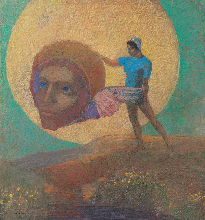 Odilon Redon (1840-1916), Figure portant une tête ailée (La chute dlcare), 1876. 19 x 17⅝  in (48.2 x 44.8  cm). Estimate $800,000-1,200,000. This lot is offered in the Impressionist & Modern Art Evening Sale on 13 November 2017  at Christie's in New York