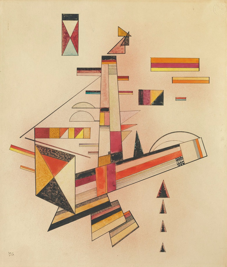 """Wassily Kandinsky (1866-1944), Bestimmt, executed October 1929. """"Bestimmt"""" (on the reverse).Watercolour and brush and pen and India ink on paper laid down by the artist on card. 20⅛ x 17¼ in (51.2 x 43.8 cm). Estimate $500,000-800,000. This work is offered inImpressionist and Modern Art Works on Paper on 14 November 2017 at Christie's in New York"""