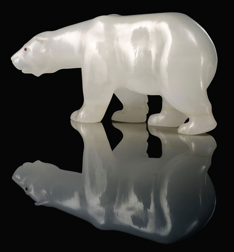 A large and important white onyx model of a bear, by Fabergé, circa 1909. 5  in (12.7  cm) wide. Estimate £200,000-300,000. This lot is offered in Important Russian Art on 27 November 2017  at Christie's in London