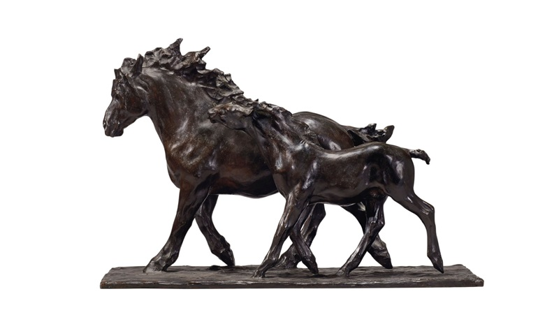Rembrandt Bugatti (1884-1916), Jument et son poulain. Bronze with brown patina. Conceived in 1907 and cast in an edition of six. Height 15¾ in (40 cm), length 23⅝ in (60 cm). Estimate $300,000-500,000. This work is offered in the Impressionist and Modern Art Day Sale on 14 November at Christies in New York
