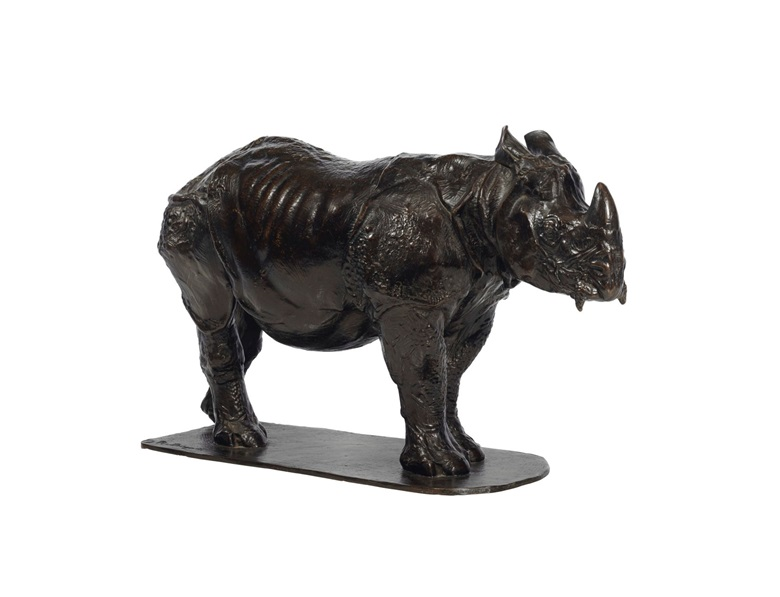 Rembrandt Bugatti (1884-1916), Rhinocéros de trois ans, conceived circa 1909-10 and cast in an edition of six. Bronze with brown patina. Height 15¾ in (40 cm), length 26¾ in (68 cm). Estimate $400,000-600,000. This work is offered in the Impressionist and Modern Art Day Sale on 14 November at Christies in New York