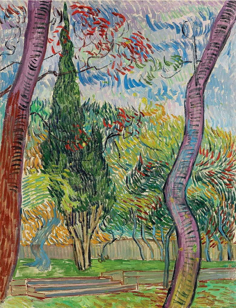 Vincent van Gogh (1853-1890), Parc de lhôpital Saint-Paul, painted in October 1889. 26⅜ x 20¼  in (66.7 x 51.5  cm). Sold for £9,001,250 on 23 June 2010  at Christie's in London