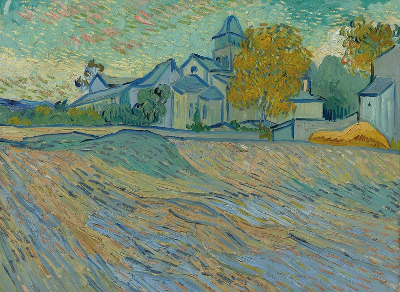 Vincent van Gogh (1853-1890), Vue de l'asile et de la Chapelle de Saint-Rémy, painted in Saint-Rémy in Autumn 1889. 17¾ x 23¾  in (45.1 x 60.4  cm). Sold for £10,121,250 on 7 February 2012  at Christie's in London