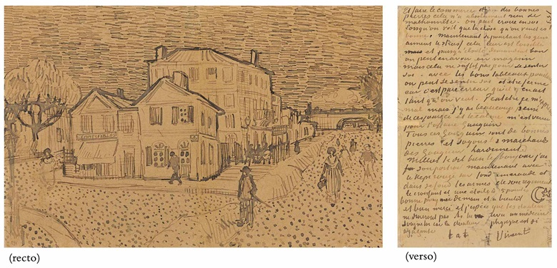 Vincent van Gogh (1853-1890), La maison de Vincent à Arles (La maison jaune) (recto); page of a letter from Vincent to his brother Theo (verso), executed in Arles, September 1888. 5¼ x 8⅛  in (13.4 x 20.6  cm). Sold for $5,485,000 on 5 November 2013  at Christie's in New York