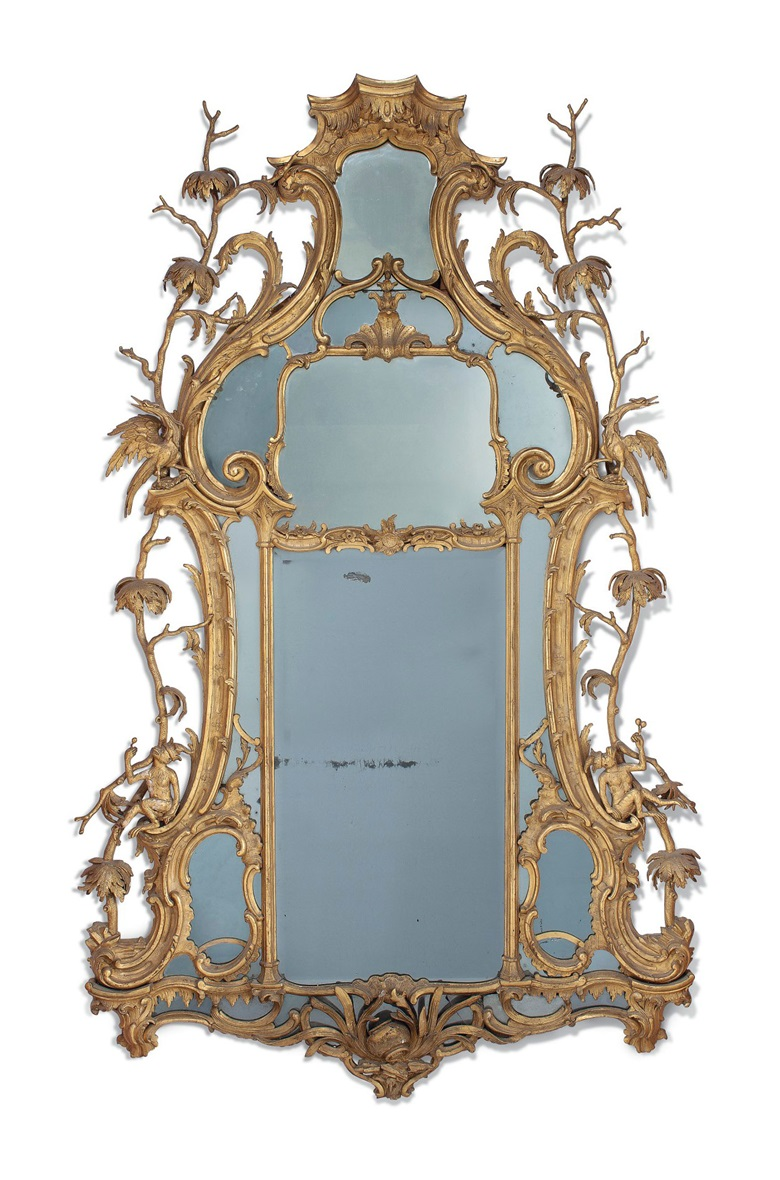 A Scottish George III giltwood mirror, by William Mathie, Edinburgh, circa 1760-61. 100 x 61  in (254 x 155  cm). Estimate £30,000-50,000. This lot is offered in The Collector English Furniture, Clocks & Works of Art on 15 November 2017  at Christie's in London