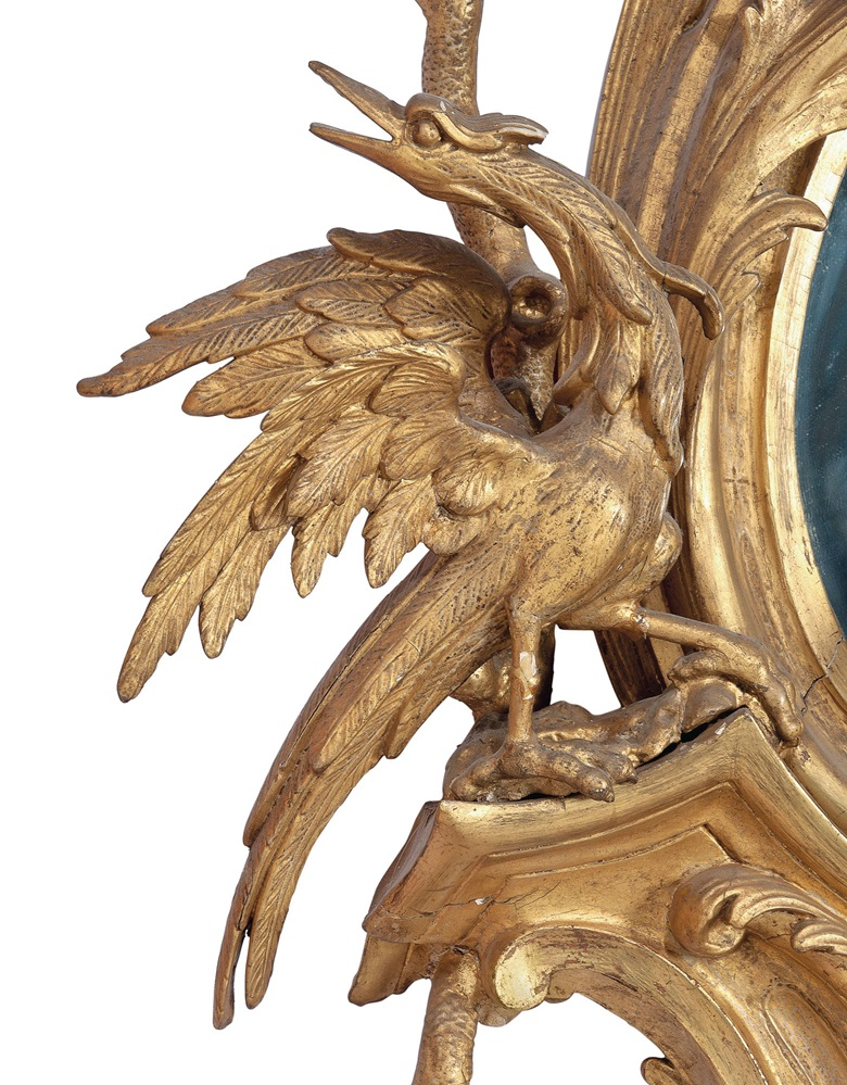 The reverse of this mirror is inscribed with a 'no. 3', and a rare, probably preliminary drawing of a ho-ho bird, undoubtedly in the craftsman's hand