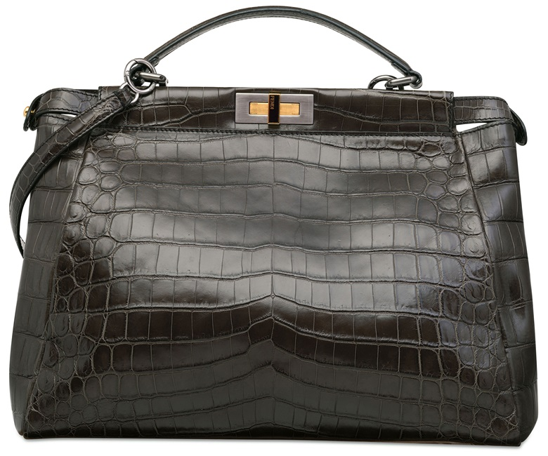A shiny grey crocodile large Peekaboo with silver & gold hardware, Fendi, 2010. Sold for HK$68,750 on 1 June 2015  at Christie's in Hong Kong
