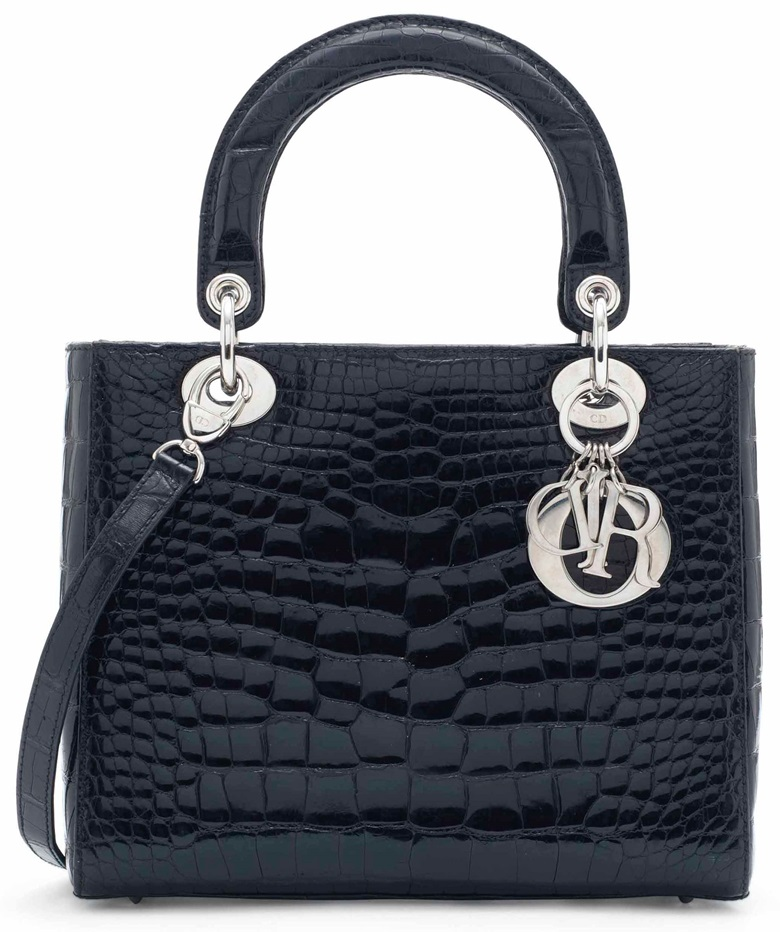 A shiny black alligator Lady Dior with silver hardware, Christian Dior, 2010s. Sold for £8,750 on 12 June 2017  at Christie's London