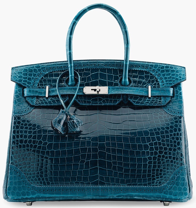 A limited-edition shiny & matte bleu colvert porosus crocodile Ghillies Birkin 35 with palladium hardware, Hermès, 2015. Sold at Christie's in June 2017 for $81,250