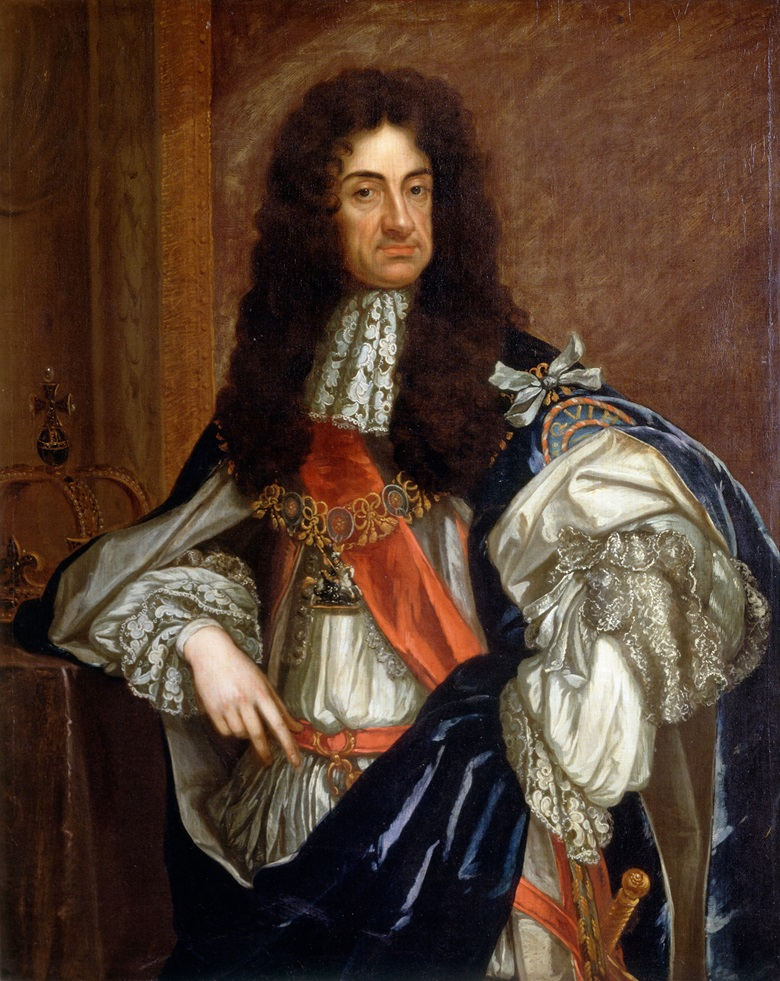 Charles II is restored to the throne in 1660 and his late father's possessions, including the painting by Leonardo, are recalled by an act of Parliament. Portrait by Godfrey Kneller. Kenwood House, London, UK © Historic England  Bridgeman Images
