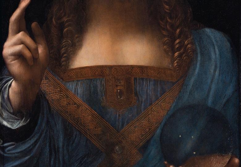 李奧納多‧達文西,《救世主》,約1500年作(細節)