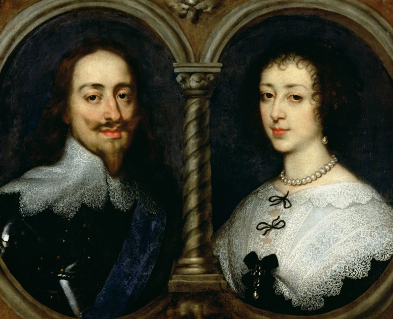 Charles I of England, the greatest art collector of his age, and Henrietta Maria, who is thought to have brought the painting to England from France upon becoming his queen consort in 1625. Painting by Anthony van Dyck. Palazzo Pitti, Florence, Italy  Bridgeman Images