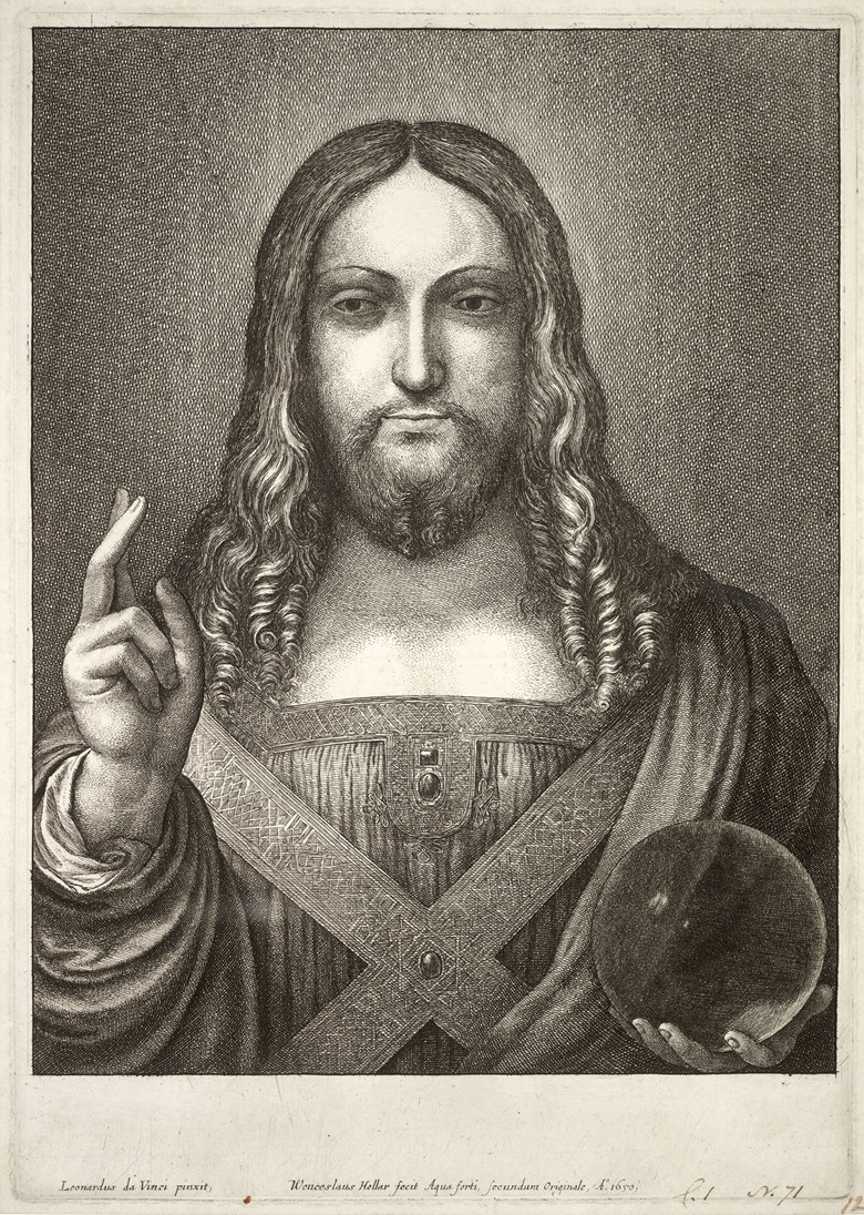 Jesus after Leonardo (state 1)  by Wenceslas Hollar, including the artist's inscription in Latin 'Leonardus da Vinci pinxit' ('Leonardo da Vinci painted it'). Artwork form University of Toronto Wenceslas Hollar Digital Collection