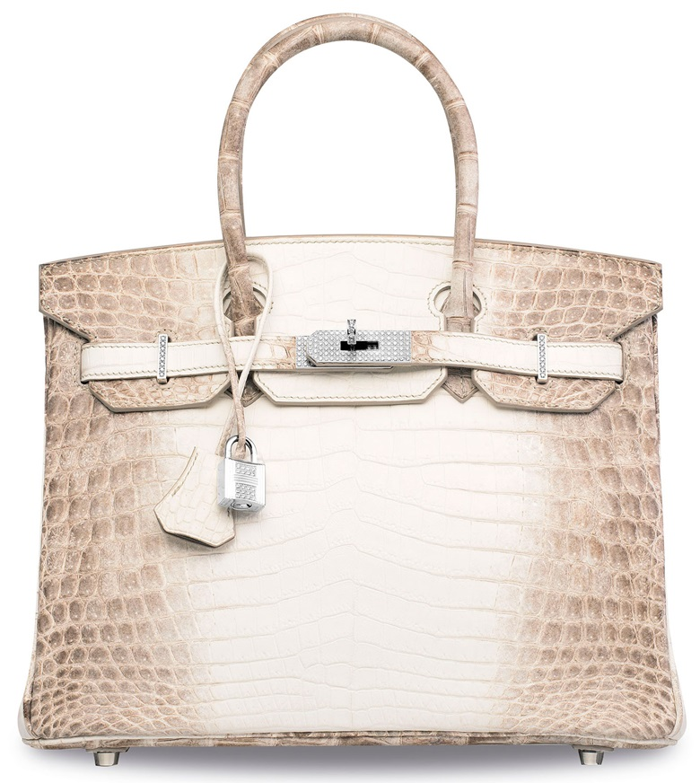 An exceptional matte white Himalaya Niloticus Crocodile Diamond Birkin 30 with 18K white gold & diamond hardware, Hermès, 2014. 30 x 22 x 15 cm. Sold for HK$2,940,000 on 31 May 2017 at Christie's in Hong Kong