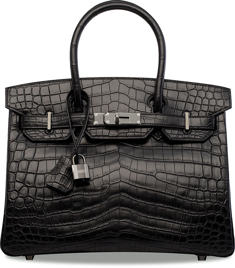 A rare Matte Black niloticus crocodile So Black Birkin 30 with black hardware. 30 x 20 x 15 cm. This lot was offered in Handbags & Accessories  on 29 November 2017  at Christie's in Hong Kong and sold for HKD 1,125,000