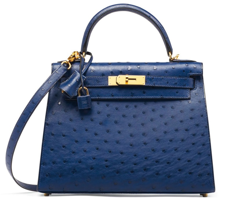 A Bleu Iris ostrich Sellier Kelly 28 with gold hardware, Hermès, 2017. This bag was offered in Handbags & Accessories on 12 December 2017 at Christie's in Paris and sold for €23,750