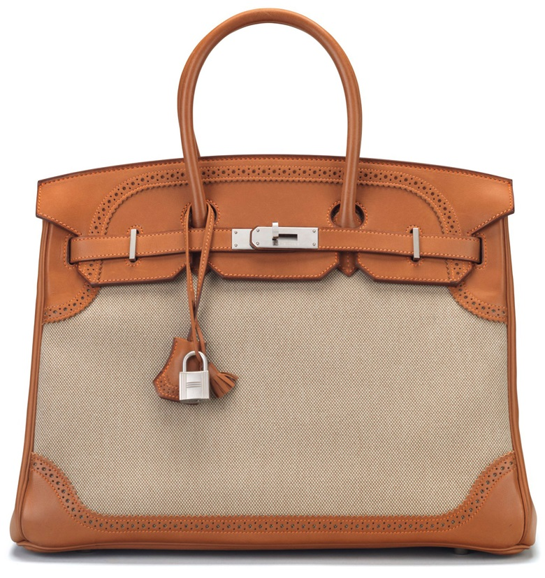 A limited-edition natural Barenia leather & Toile Ghillies Birkin 35 with brushed palladium hardware, Hermès, 2014. Estimate $8,000-10,000. This bag is offered in Handbags & Accessories, Online, 22 November to 5 December