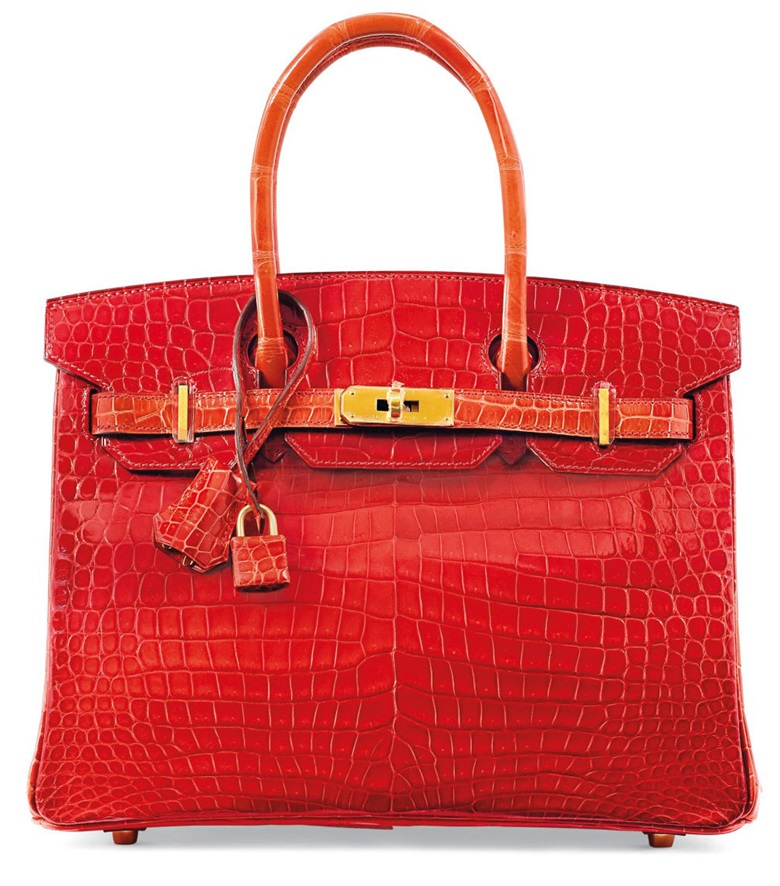 A custom shiny Braise & Géranium porosus crocodile Birkin 30 with brushed gold hardware, Hermès, 2015. This bag was offered in Handbags & Accessories on 12 December 2017 at Christie's in Paris and sold for €50,000