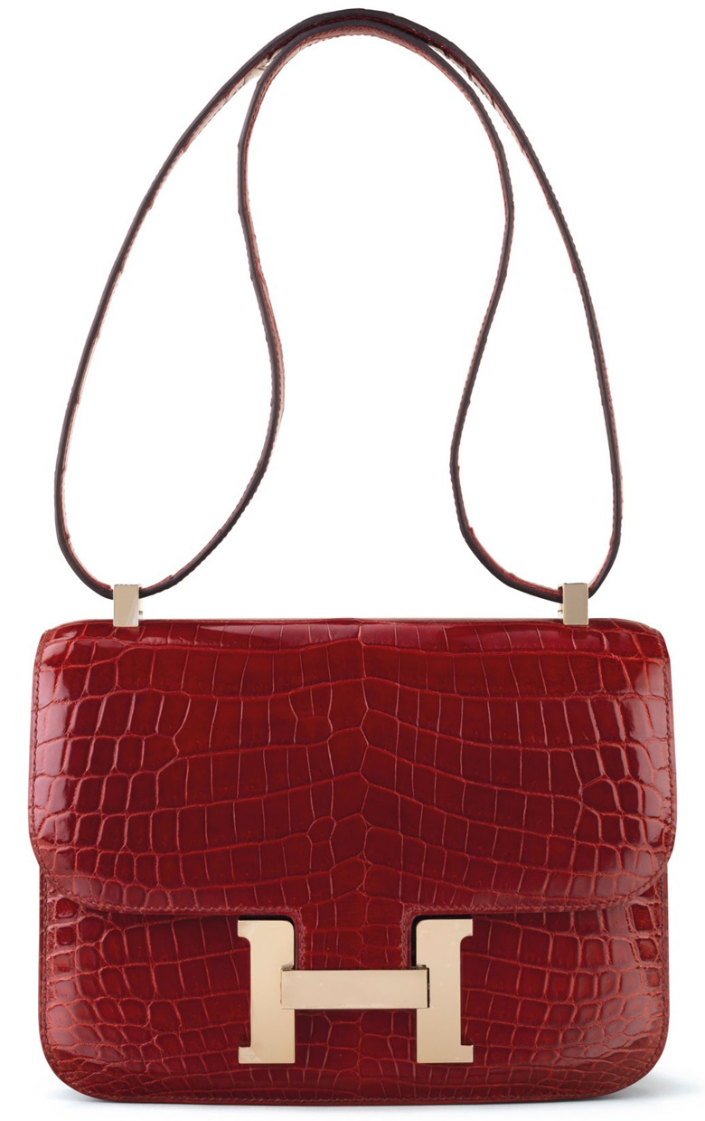 A shiny Rouge H niloticus crocodile Constance 24 with gold hardware, Hermès, 2014. Estimate $20,000-25,000. This bag is offered in Handbags & Accessories, Online, 22 November to 5 December
