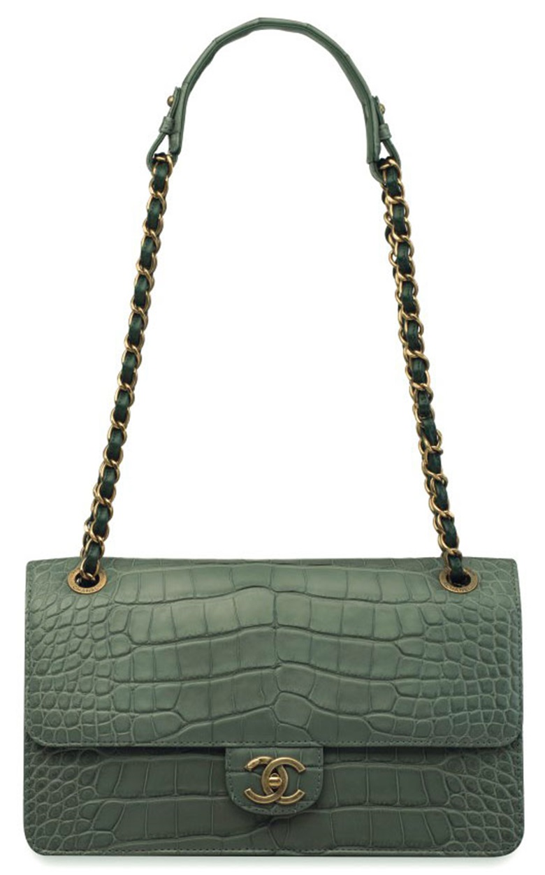 A matte sea green alligator and lambskin Maxi Flap Bag with antiqued gold hardware. Chanel, 2016. Estimate HK$60,000-80,000. This lot is offered on 29 November in the Handbags & Accessories sale at Christies in Hong Kong