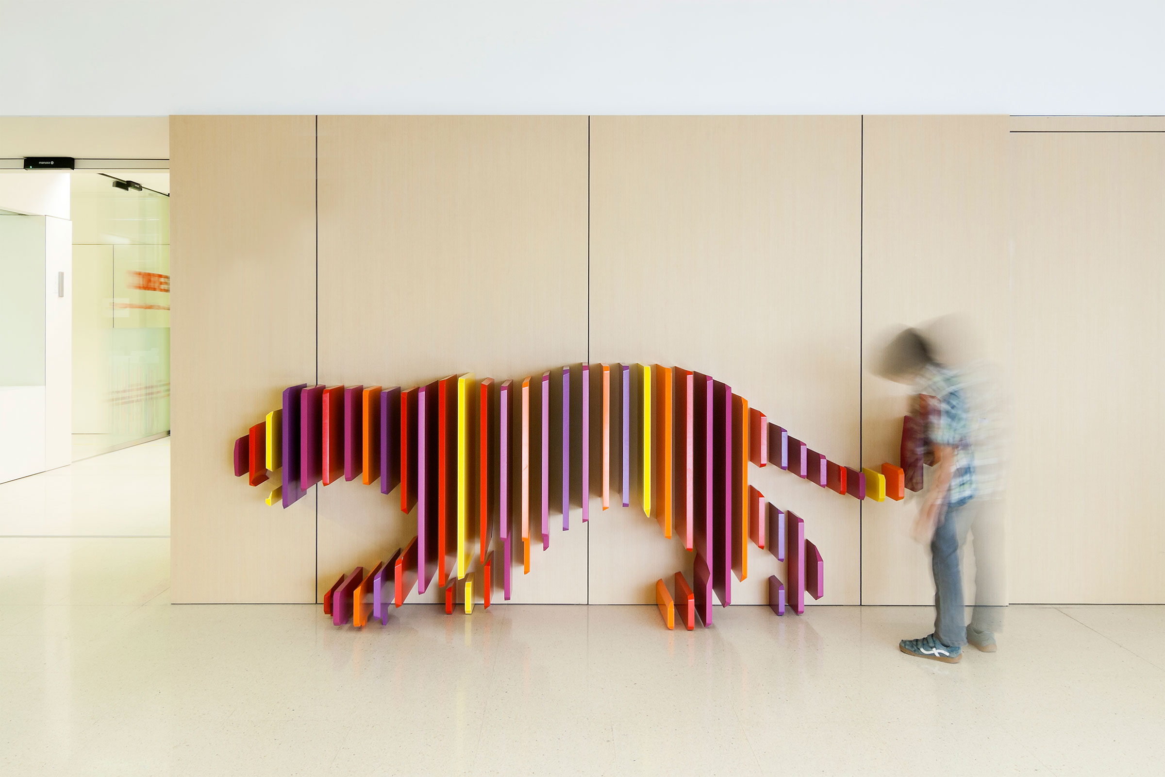 Tiger, Hospital Sant Joan de Déu, Barcelona. From Can Graphic Design Save Your Life  at the Wellcome Collection. © Rubio Arauna Studio, Rai Pinto Studio. Picture by Victòria Gil