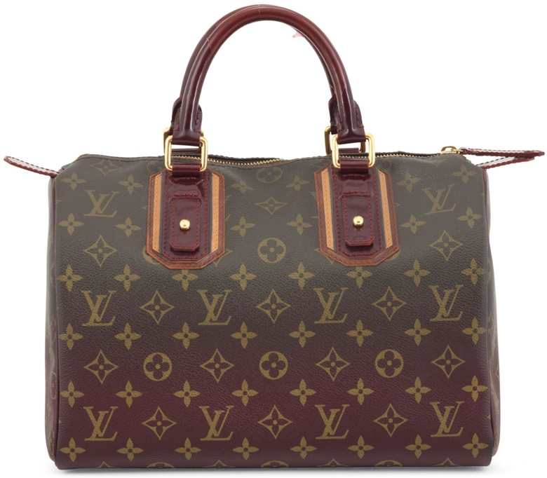 326ab2d3e0ca A limited-edition Monogram Mirage Bordeaux patent leather Speedy 30 with  gold hardware. Louis