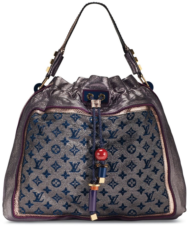 A Limited Edition Purple Monogram Lurex Metallic Calfskin Snakeskin Bluebird With Gold