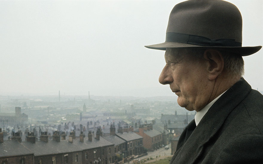 L. S. Lowry looking on in his hometown of Pendlebury, Lancashire, 1964. Photo Tony EvansGetty Images