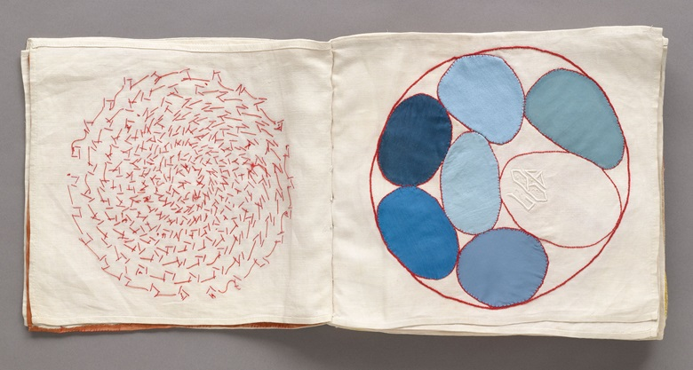 Louise Bourgeois (1911–2010). No. 4 of 34 from the fabric illustrated book Ode à l'Oubli, 2002. Page (approx.) 10¾ × 12 116 in (27.3 × 30.7 cm). The Museum of Modern Art, New York. Gift of the artist. © 2017 The Easton FoundationLicensed by VAGA, NY.
