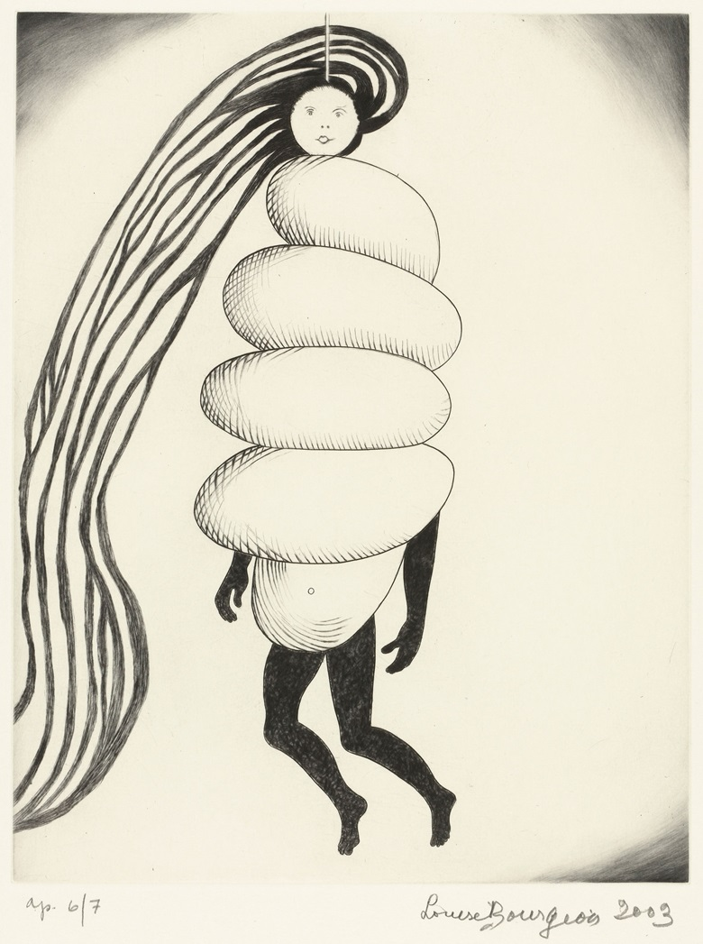 Louise Bourgeois (1911–2010), Spiral Woman, 2003. Drypoint and engraving. Sheet 17 x 15 in (43.2 x 38.1 cm). The Museum of Modern Art, New York. Gift of the artist. © 2017 The Easton FoundationLicensed by VAGA, NY.