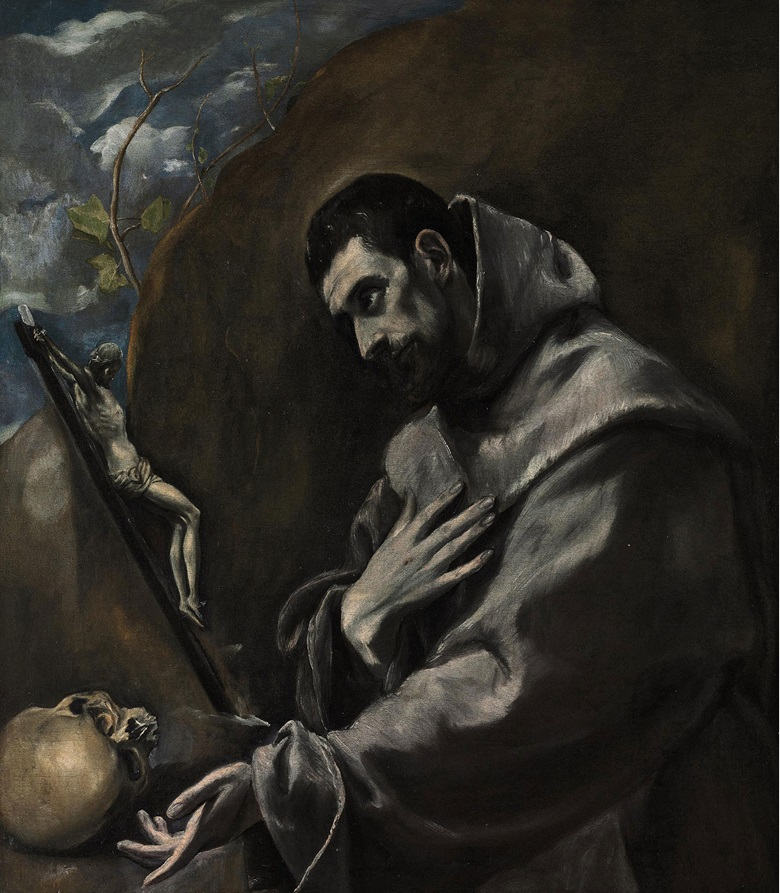 El Greco (1541-1614), Saint Francis of Assisi in Meditation. 39⅝ x 34¾ in (100.7 x 88.3 cm). Sold for £1,161,250 on 7 December 2010 at Christie's in London