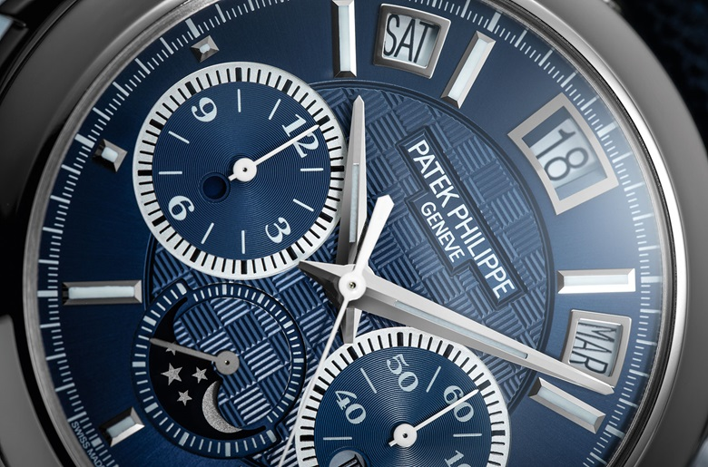 The blue dial on the watch is hand guilloched and features the blue colour in PVD and indexes with luminous coating