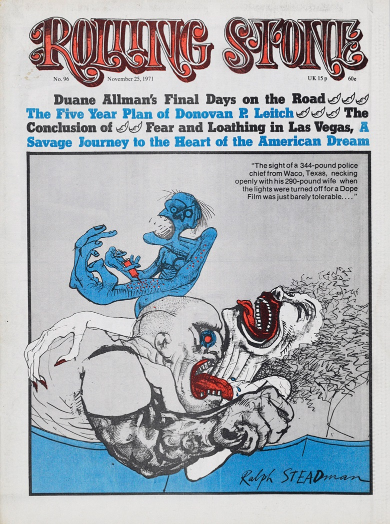 The drawing by Ralph Steadman offered in New York on 5 December was used to illustrate the front cover of Rolling Stone on 25 November 1971, in which the second part of Fear and Loathing in Las Vegas was published