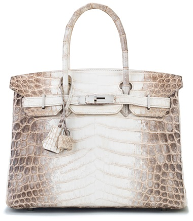 A rare, matte white himalaya niloticus crocodile birkin 30 with palladium hardware, Hermès, 2011. 30 w x 22 h x 15 d cm. Estimate                    $65,000-85,000. This lot is offered in Handbags & Accessories, 22 November to 5 December 2017, Online  The Himalaya Birkin is the ultimate Holy Grail Bag for many collectors. The bag's neutral palette mimics the snowy peaks of the Himalaya Mountains,
