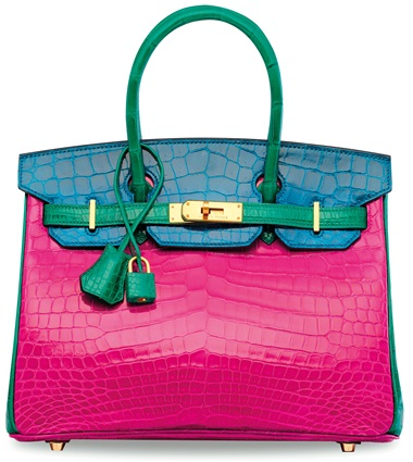 A custom rose schéhérazade, vert émeraude & bleu izmir alligator birkin 30 with gold hardware, Hermès, 2014. 30 w x 20 h x 15 d cm. Estimate HK$400,000-500,000. This lot is offered in Handbags & Accessories  on 29 November 2017  at Christie's in Hong Kong, HKCEC Grand Hall  For the collector who dares to make a bold statement, this tricolor exotic Birkin commands attention.       .captiondesc {