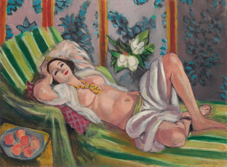 Henri Matisse, Odalisque couchée aux magnolias, painted in Nice, 1923. Oil on canvas. 23¾ x 31⅞ in (60.5 x 81.1 cm). Estimate on request. © 2017 Succession H. Matisse  Artists Rights Society (ARS), New York