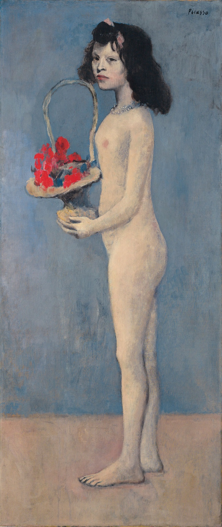 Pablo Picasso, Fillette à la corbeille fleurie, 1905. Oil on canvas. 60⅞ x 26 in (154.8 x 66.1 cm). Estimate on request. © 2017 Estate of Pablo Picasso  Artists Rights Society (ARS), New York