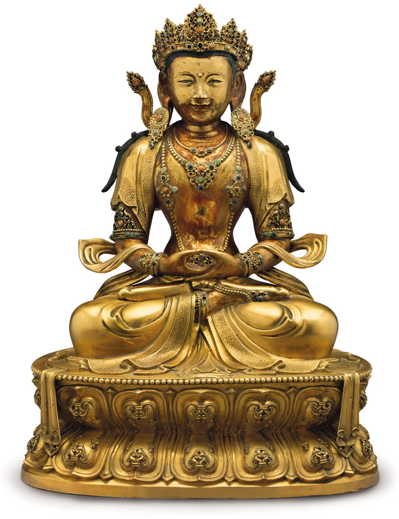 An Imperial gilt-bronze figure of Amitayus, China, Kangxi Period (1662-1722). 16½ in (41.9 cm) high. Estimate $400,000-600,000