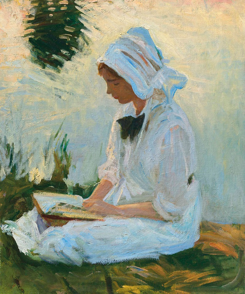 John Singer Sargent (1856-1925), Girl Reading by a Stream, circa 1888. 24 x 20  in (61 x 50.8  cm). Estimate £1,000,000-1,500,000. This lot is offered in British Impressionism Evening Sale on 22 November 2017  at Christie's in London