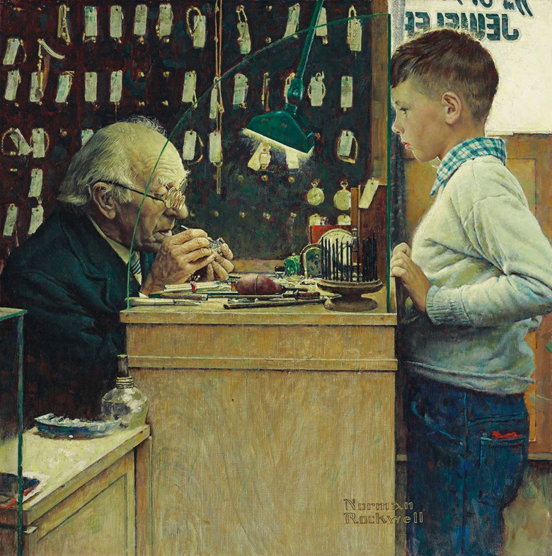 Norman Rockwell (1894-1978), What Makes It Tick (The Watchmaker), 1948. 26¼ x 26  in (66.7 x 66  cm). Estimate $4,000,000-6,000,000. This work is offered in American Art on 21 November 2017  at Christie's in New York